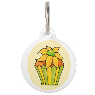 Quirky Cupcakes Yellow Flower Round Large Pet Tag