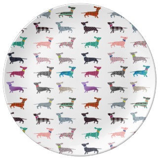 Quirky Dachshund pattern Plate