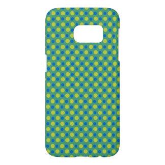 Quirky Dark Blue Polka Dots on Emerald Green Samsung Galaxy S7 Case