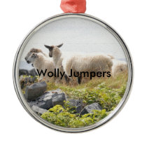 Quirky Designs - Sheep in a field Metal Ornament