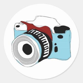 Quirky digital camera illustration classic round sticker
