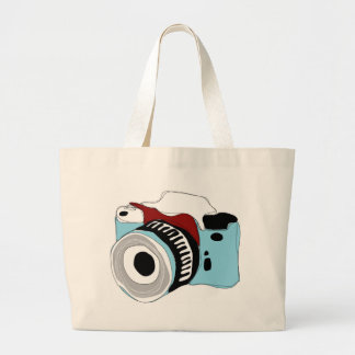 Quirky digital camera illustration large tote bag