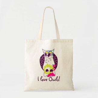 Quirky Floral Purple Owl I Love Owls Tote Bag