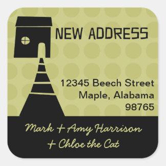 Quirky Fun New Address Avocado Square Sticker