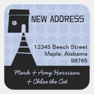 Quirky Fun New Address Blue Square Sticker