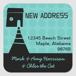 Quirky Fun New Address Turquoise Square Sticker