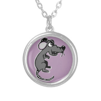 Quirky funny angry rat cartoon round pendant necklace