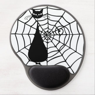 Quirky Funny Black Cat Feline Gel Mouse Pad
