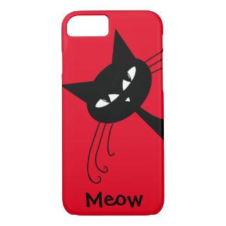 Quirky Funny Black Cat Feline iPhone 7 Case