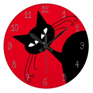 Quirky Funny Black Cat Feline Large Clock