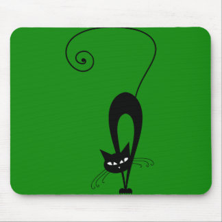 Quirky Funny Black Cat Feline Mouse Pad