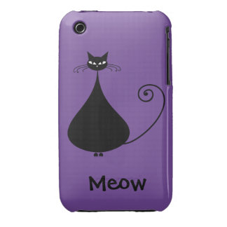 Quirky Funny Black Cat Feline Pattern iPhone 3 Covers