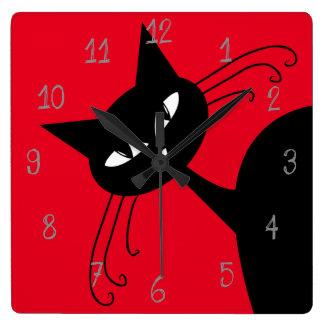 Quirky Funny Black Cat Feline Square Wall Clock