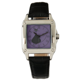 Quirky Funny Black Cat Feline Wristwatch