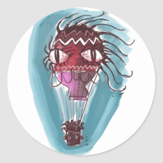 quirky hot air baloon big eye red witch classic round sticker