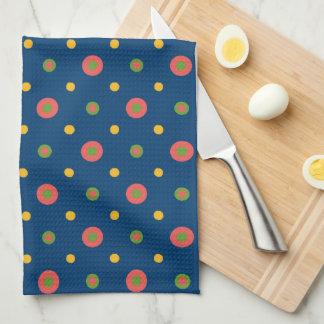 Quirky Jumbo Polka Dots On Navy Blue Kitchen Towel