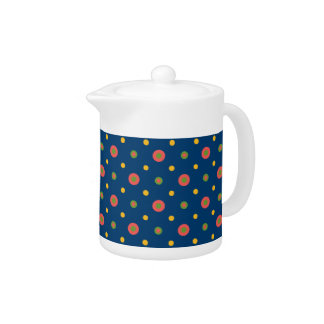 Quirky Jumbo Polka Dots on Navy Blue Teapot