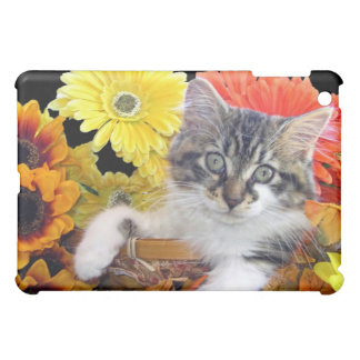 Quirky Kitty Cat Kitten, Yellow & Orange Gerberas Cover For The iPad Mini