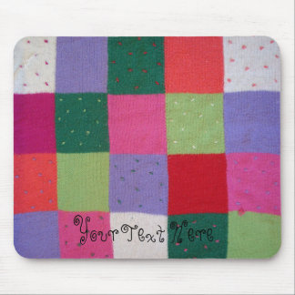 quirky knitted patchwork colourful traditional mouse pad