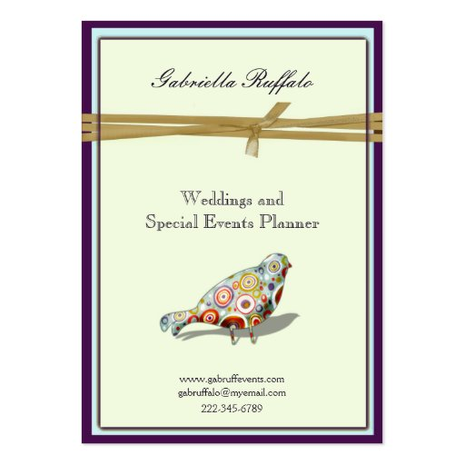 Quirky Little Colorful Artsy Bird Large Business Card : Zazzle
