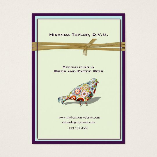 Quirky Little Colorful Bird Business Card