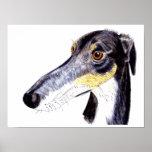 Quirky lurcher greyhound poster