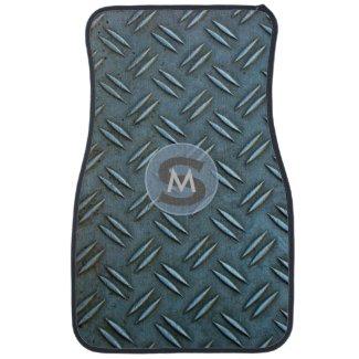 Quirky Monogrammed Metal Chequer floor plate Floor Mat