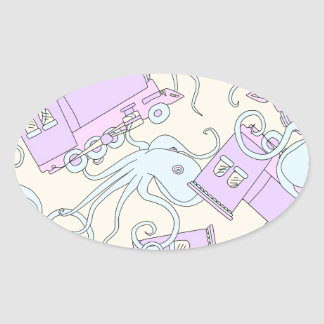 Quirky Octopus/Train Collage Oval Sticker