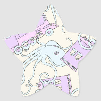 Quirky Octopus/Train Collage Star Sticker
