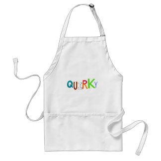 Quirky odd unusual unique fun colorful art word adult apron