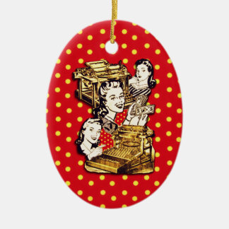 Quirky Office Gals Ceramic Ornament