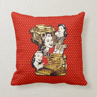 Quirky Office Gals Throw Pillow