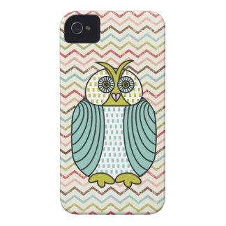 Quirky Owl Colorful Modern Chevron Pattern iPhone 4 Case-Mate Case