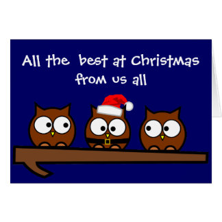 Quirky Owls at Christmas Family Card
