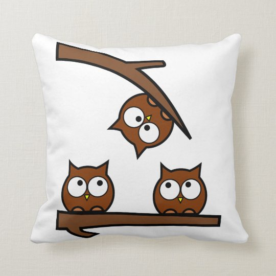 Quirky Owls Out On A Limb Throw Pillow