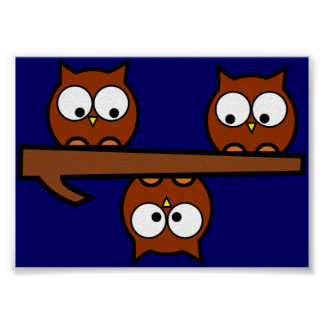 Quirky Owls Poster