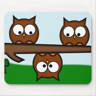 Quirky Owls With Background Mouse Pad