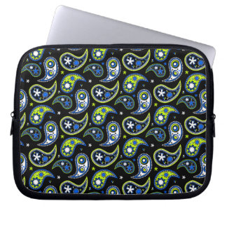 Quirky Paisley Blue and Green Computer Sleeve