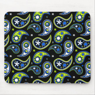 Quirky Paisley Blue and Green Mouse Pad