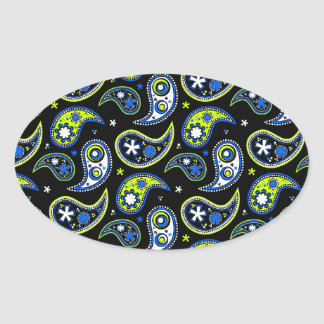 Quirky Paisley Blue and Green Oval Sticker