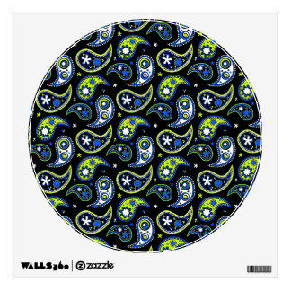 Quirky Paisley Blue and Green Wall Decal