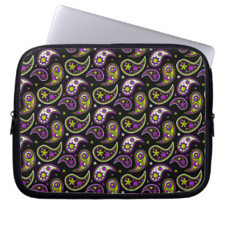 Quirky Paisley Pink and Green Laptop Computer Sleeves