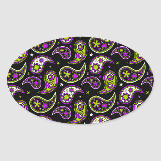 Quirky Paisley Pink and Green Oval Sticker