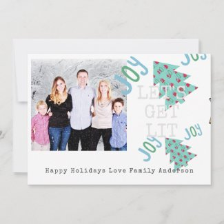 Quirky PHOTO Christmas Folk Art Typeset Card