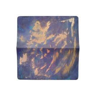 Quirky Purple Blue Turquoise Metallic Gold Copper Checkbook Cover