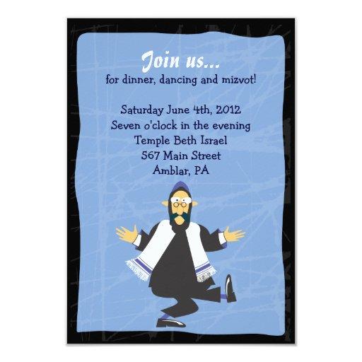 "Quirky Rabbi Bar Bat Mitzvah Reception Party Card 3.5"" X 5"" Invitation Card"