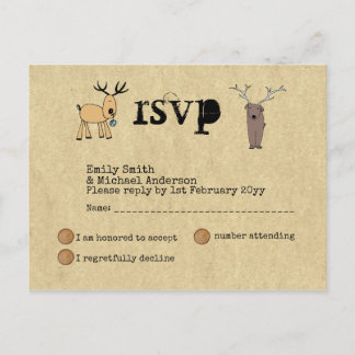 Quirky Rustic Christmas Event RSVP Doodle Art Invitation Postcard