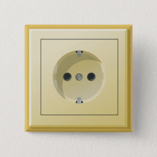QUIRKY SQUARE ELECTRICAL PLUG PINBACK BUTTON