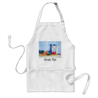 quirky still life art of peppers courgette carrots adult apron