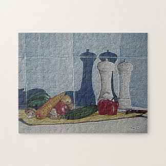 quirky still life art of peppers courgette carrots jigsaw puzzle